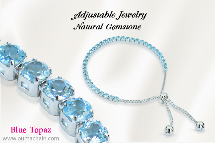 Adjustable Jewellery Natural Blue Topaz